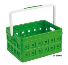 bac de rangement plastique vert pliable poign e 24 litres. Black Bedroom Furniture Sets. Home Design Ideas